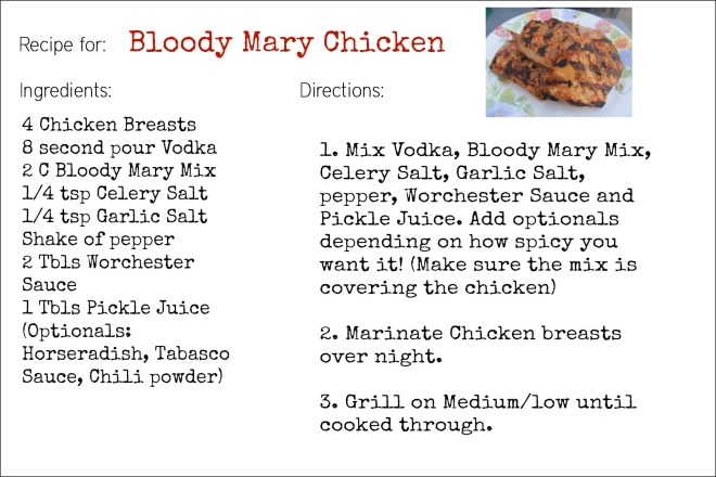 Bloody Mary Chicken Recipe Card