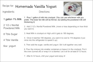 Yogurt Recipe Card