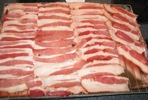 Bacon arranged on rack