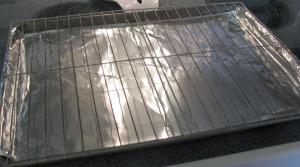 Aluminum foil wrapped pan