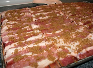 Bacon sprinkled with brown sugar