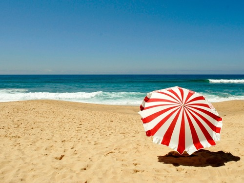 summer beach with umbrella