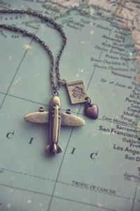 map with airplane charm