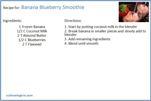 Whole30 banana blueberry smoothie recipe